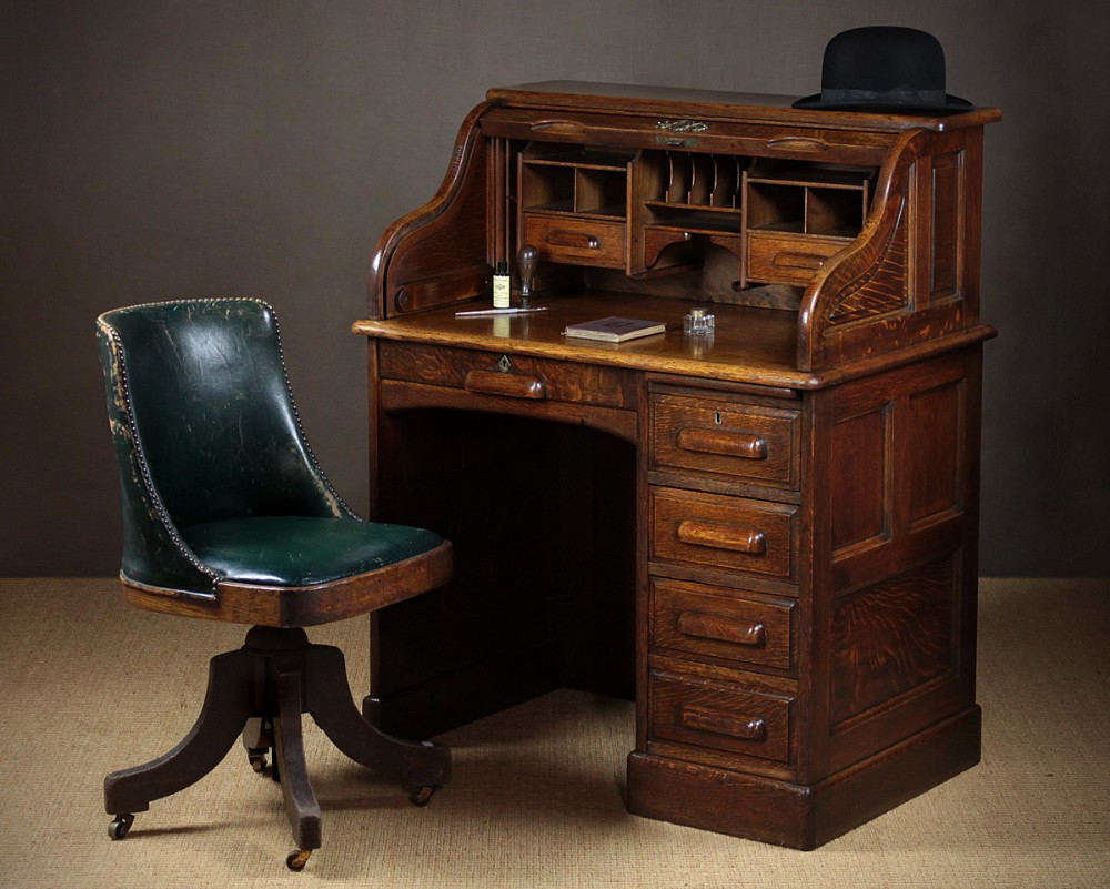 Small Early 20th C Oak Roll Top Desk C 1920 346188