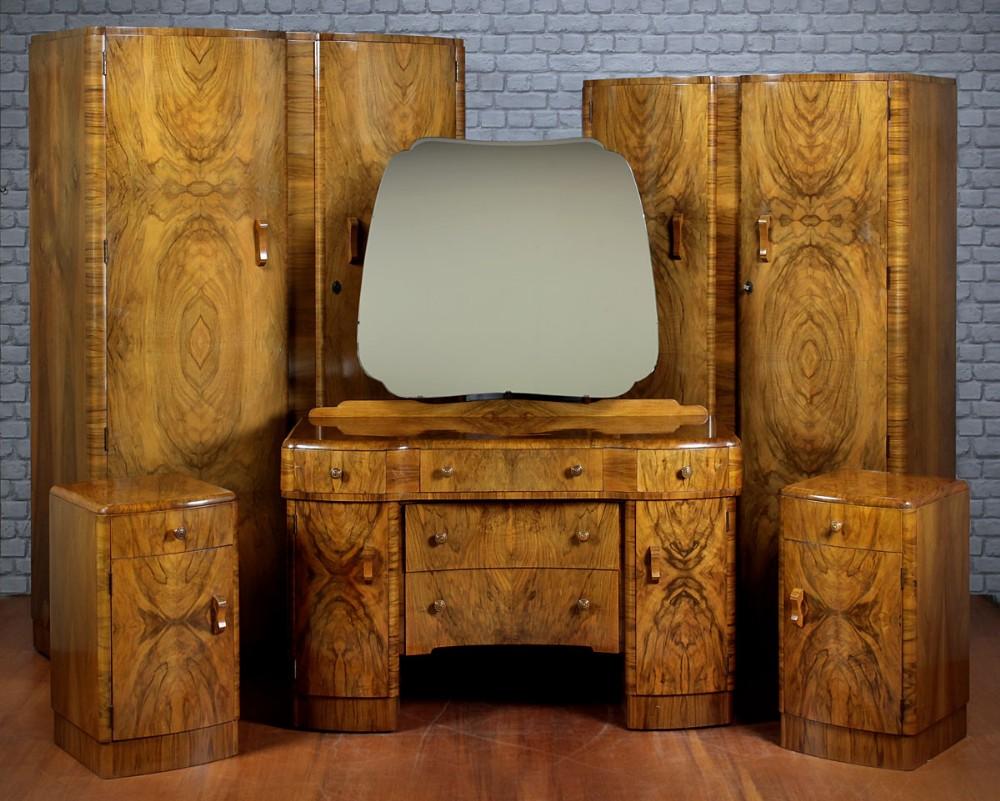 Art Deco Walnut Bedroom Suite C 1930 369650