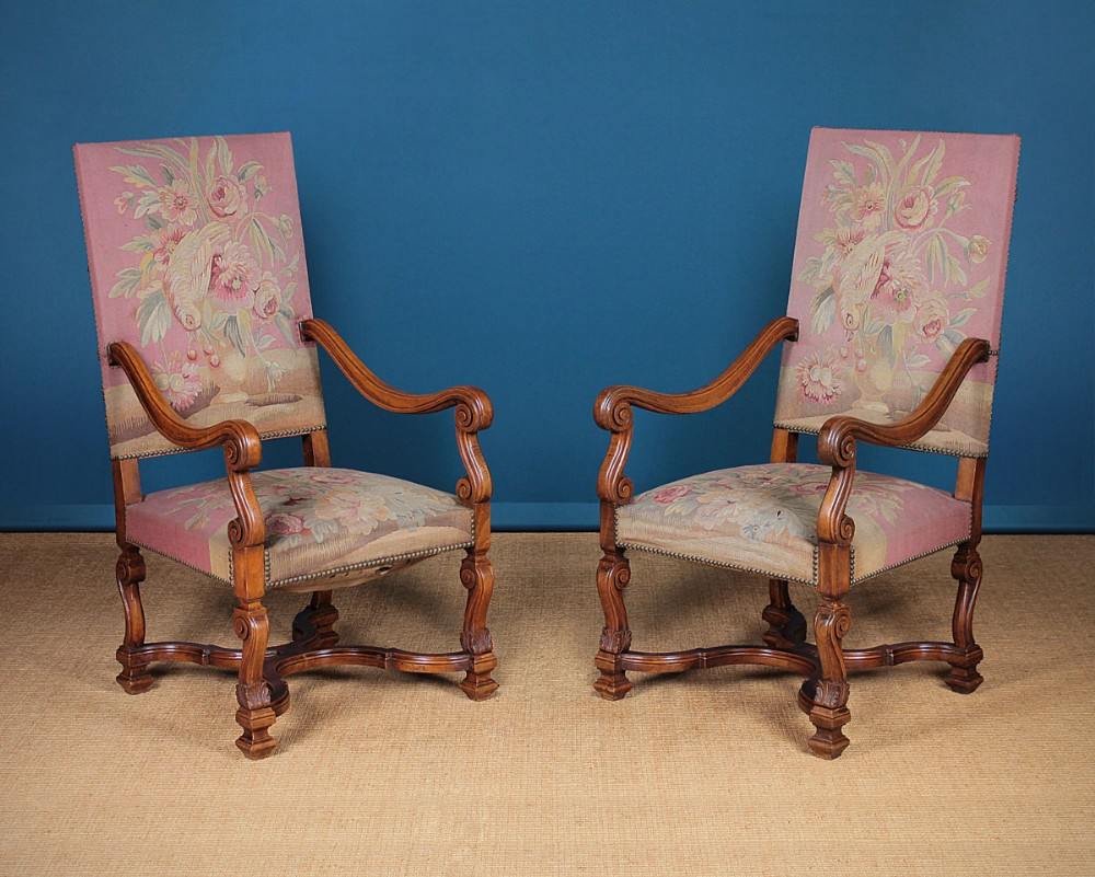 pair large high back open armchairs c1920