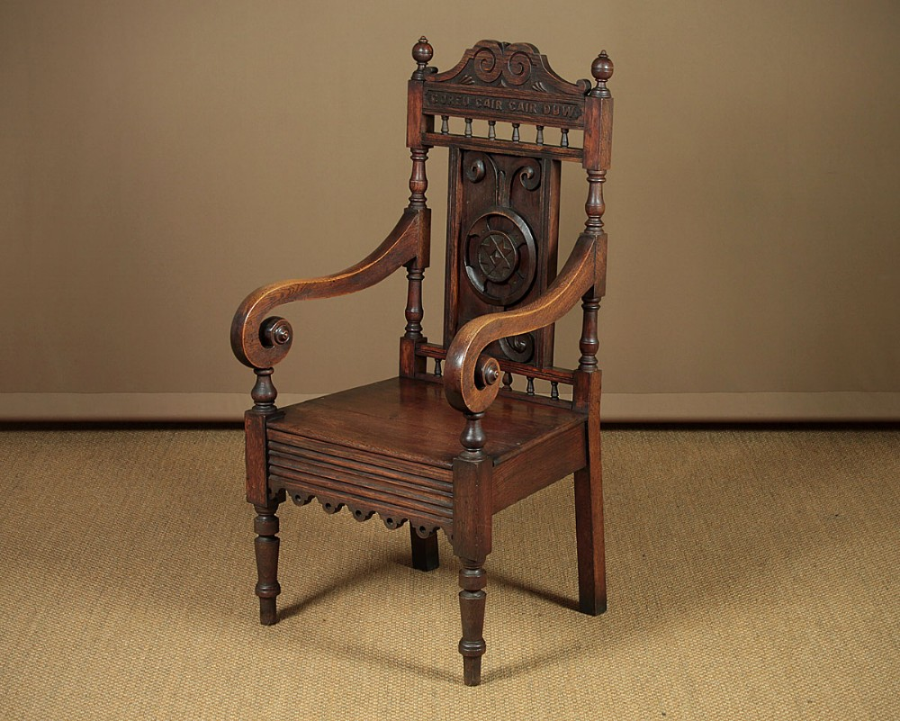welsh carved oak armchair c1880