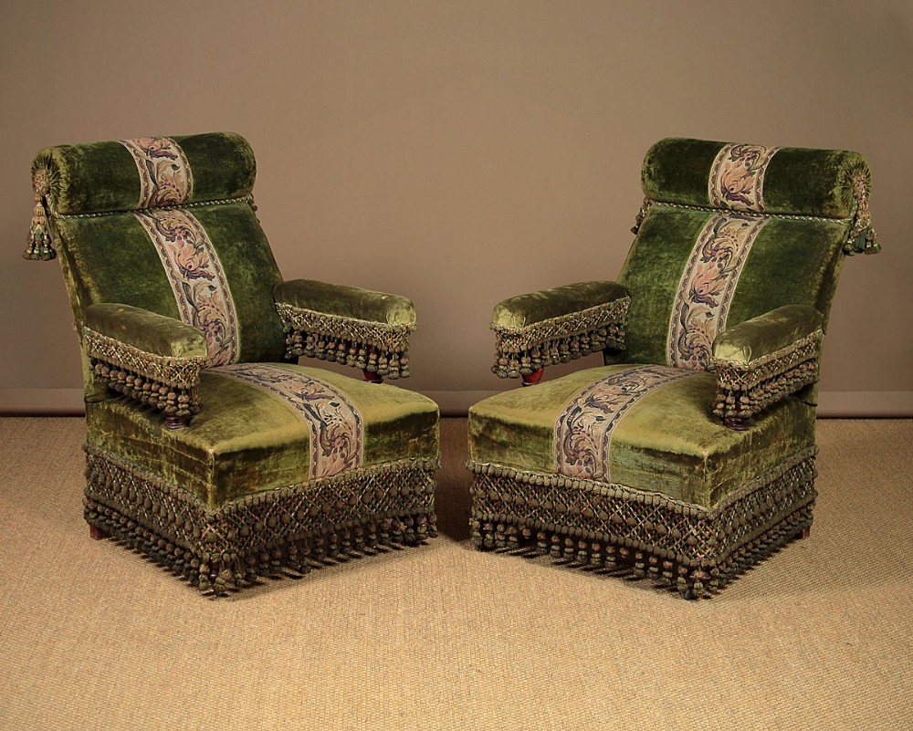 Pair Late 19th.C. French Easy Armchairs C.1890. | 587915 ...