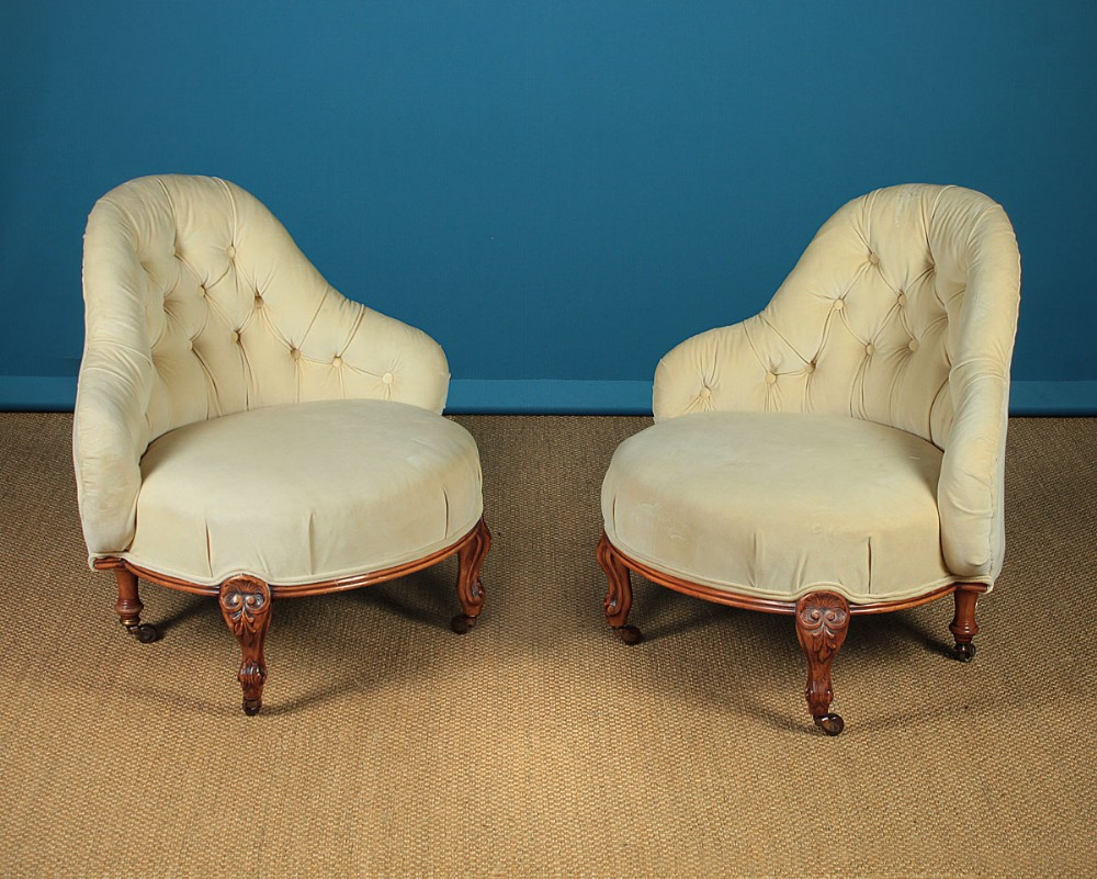 Pair Mid 19th C Upholstered Bedroom Chairs C 1860 593347