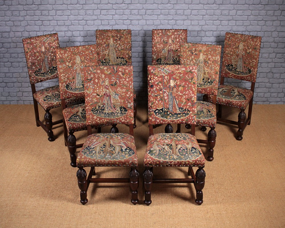 set of 8 dining chairs with lady the unicorn tapestry covers c1930