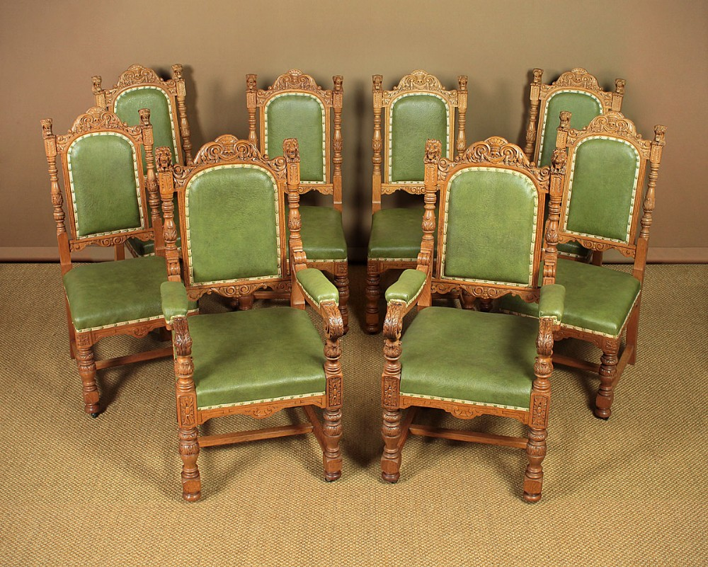 set eight late 19thc carved oak dining chairs c1880