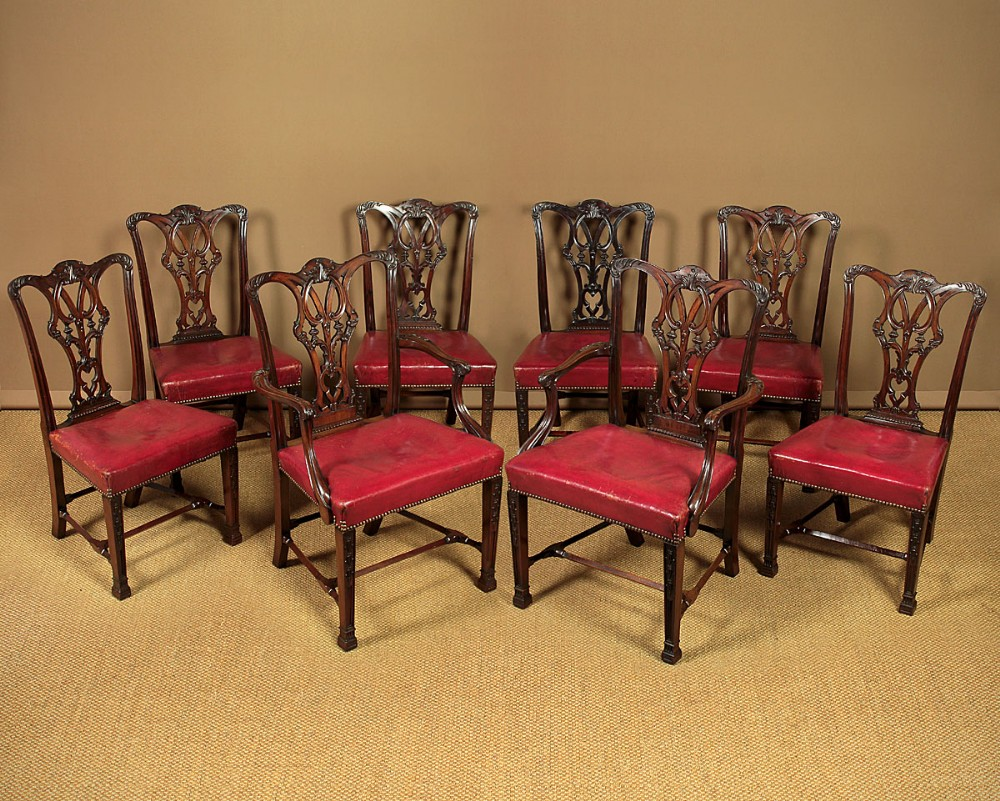 set eight late 19thc chippendale style mahogany dining chairs c1890