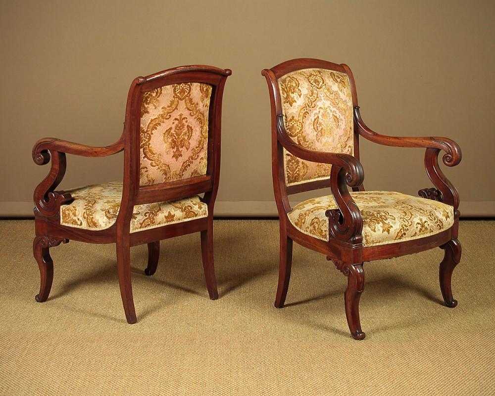 pair regency mahogany armchairs c1830