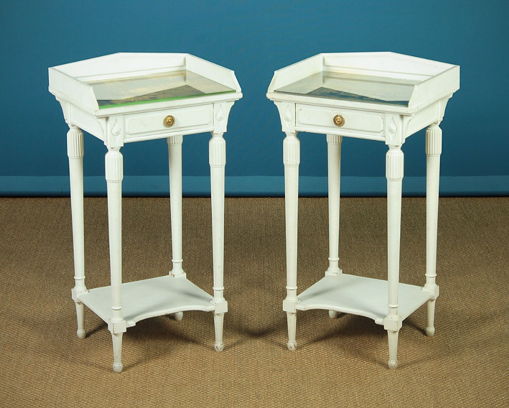 pair of painted bedside tables c1900