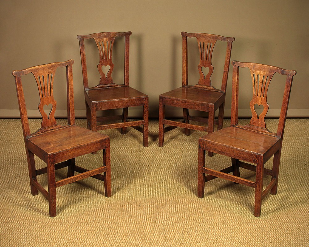 set of four country chippendale dining chairs c1810