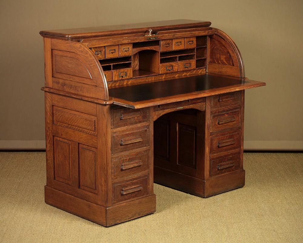 edwardian oak roll top desk c1910