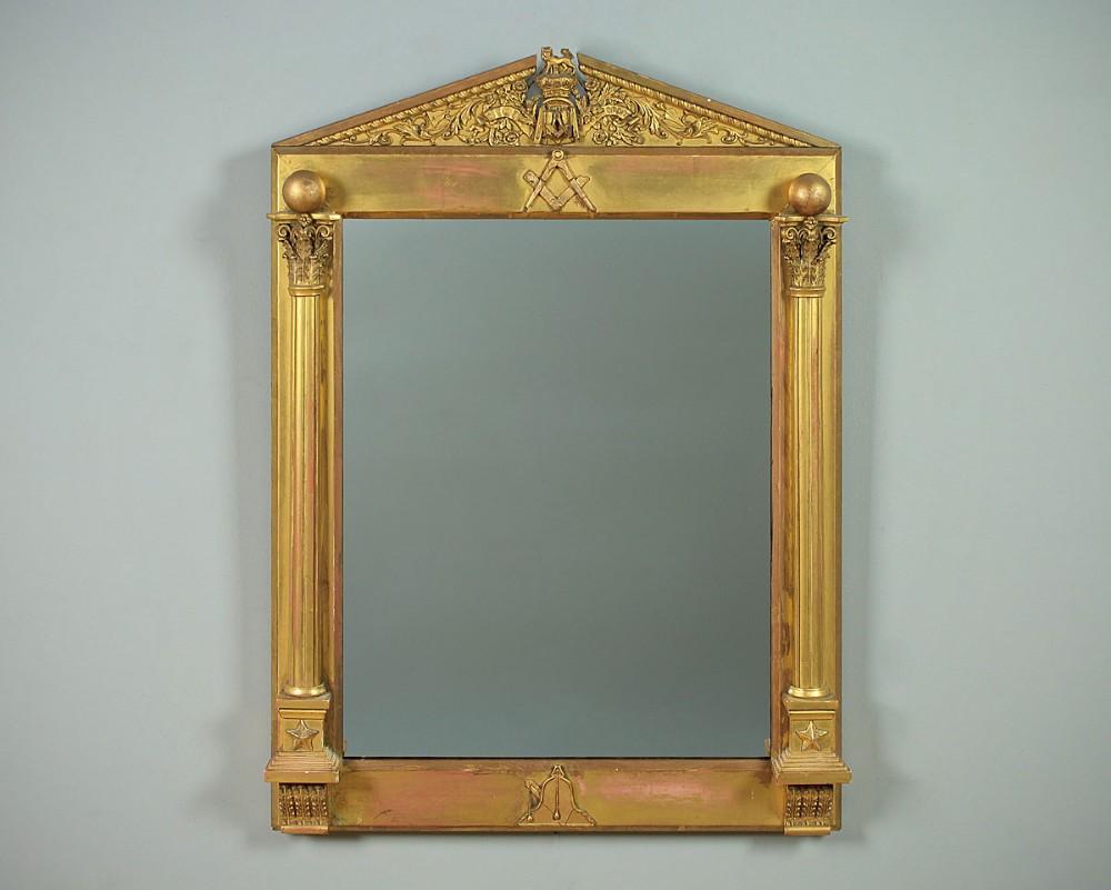 19thc masonic gilt framed mirror c1870