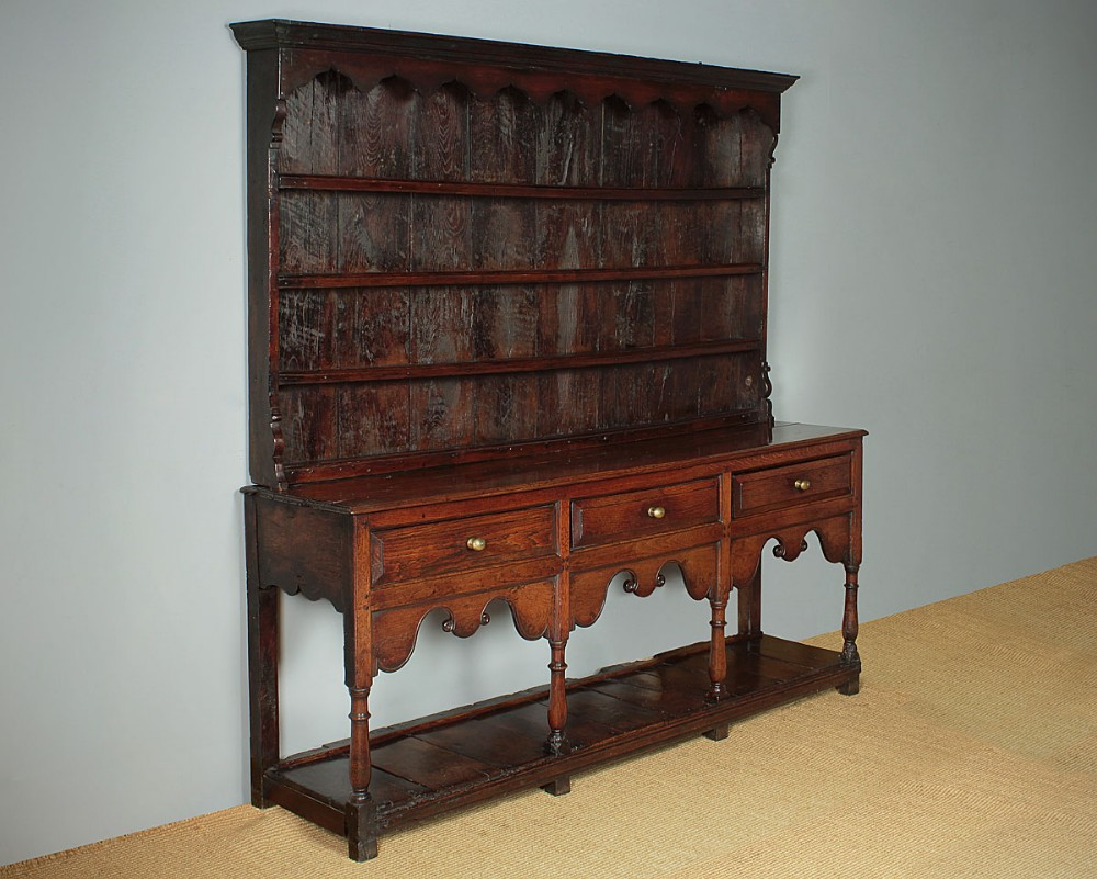 exceptional 18thc potboard dresser rack c1740