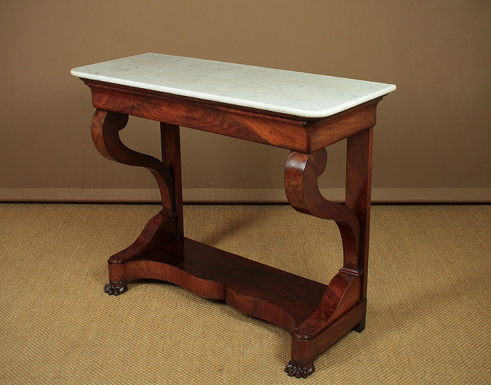 marble top mahogany console table c1840