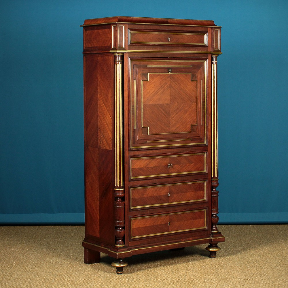 brass mounted rosewood secretaire abattant c1880
