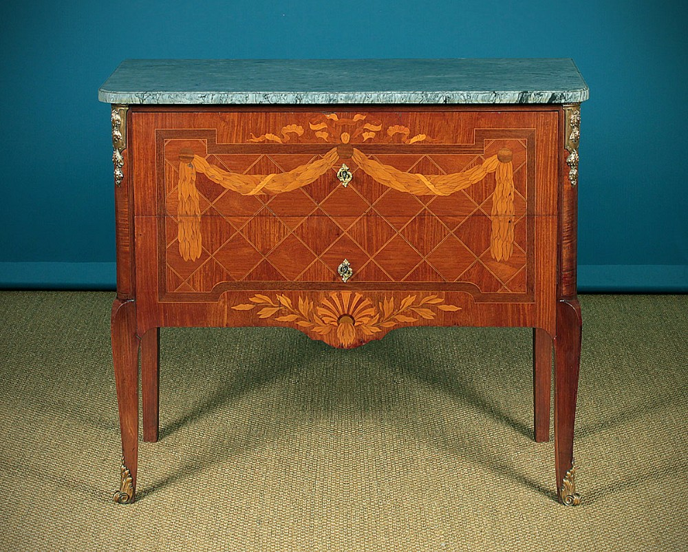 french marquetry front two drawer commode c1930