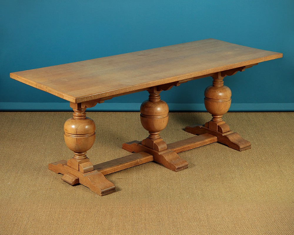 17thc style pale oak refectory dining table c1920