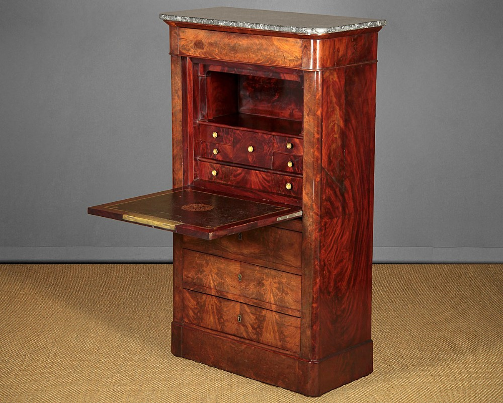 19thc french mahogany secretaire chest of drawers writing desk c1830