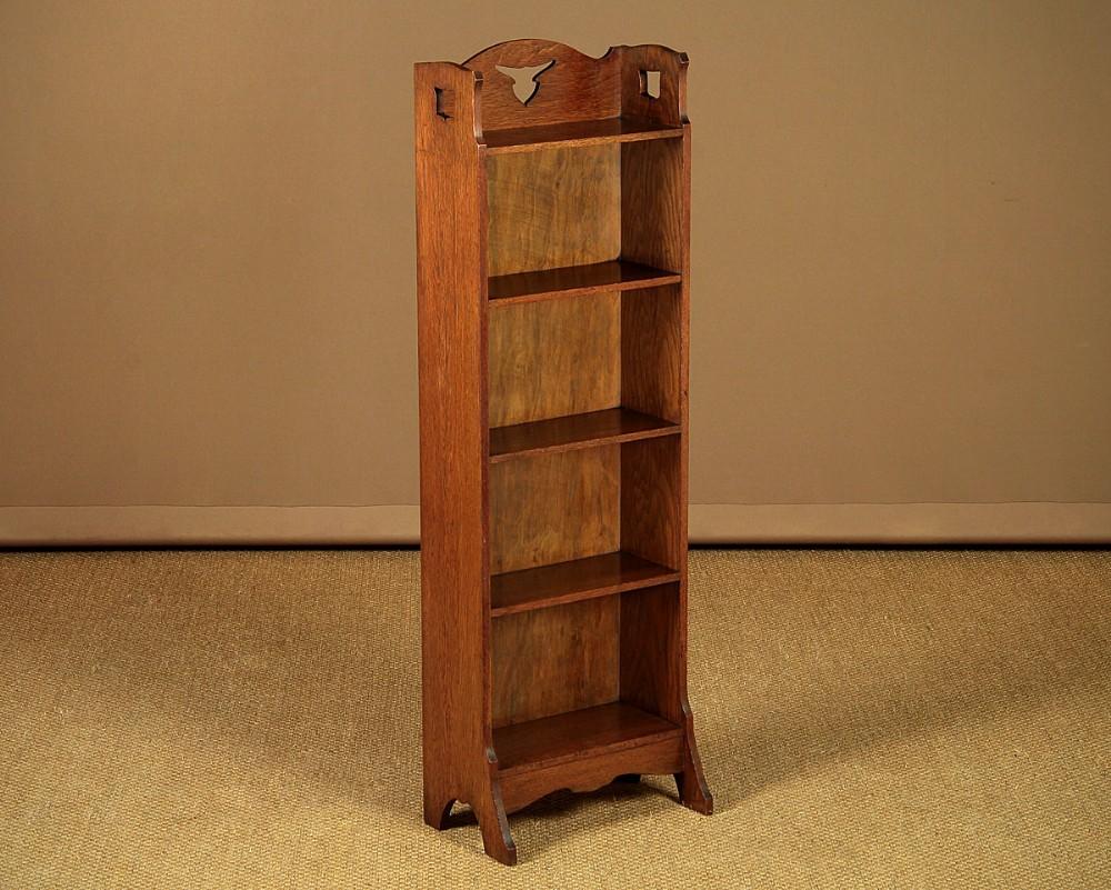 narrow arts crafts open bookshelves c1905