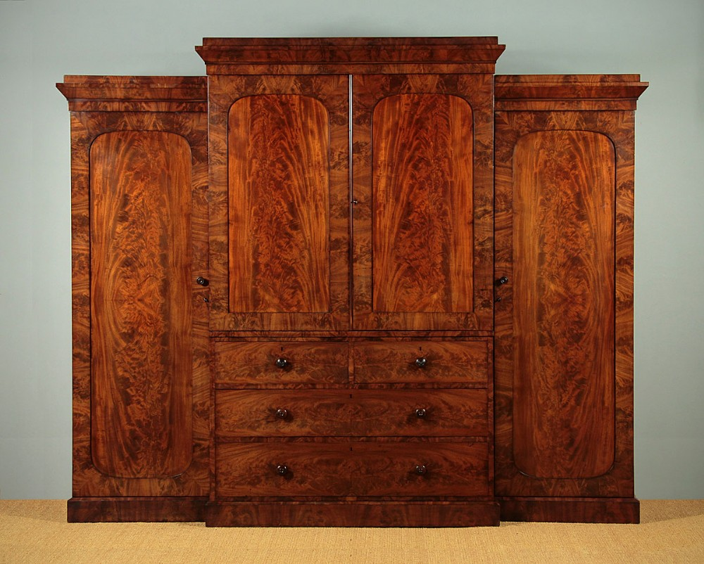 19thc mahogany combination wardrobe linen press c1840