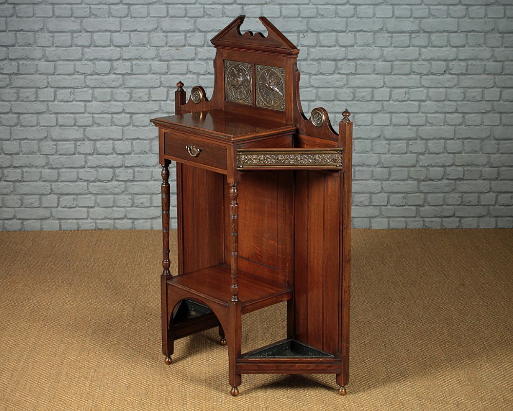 oak arts crafts style hall table stick stand c1890