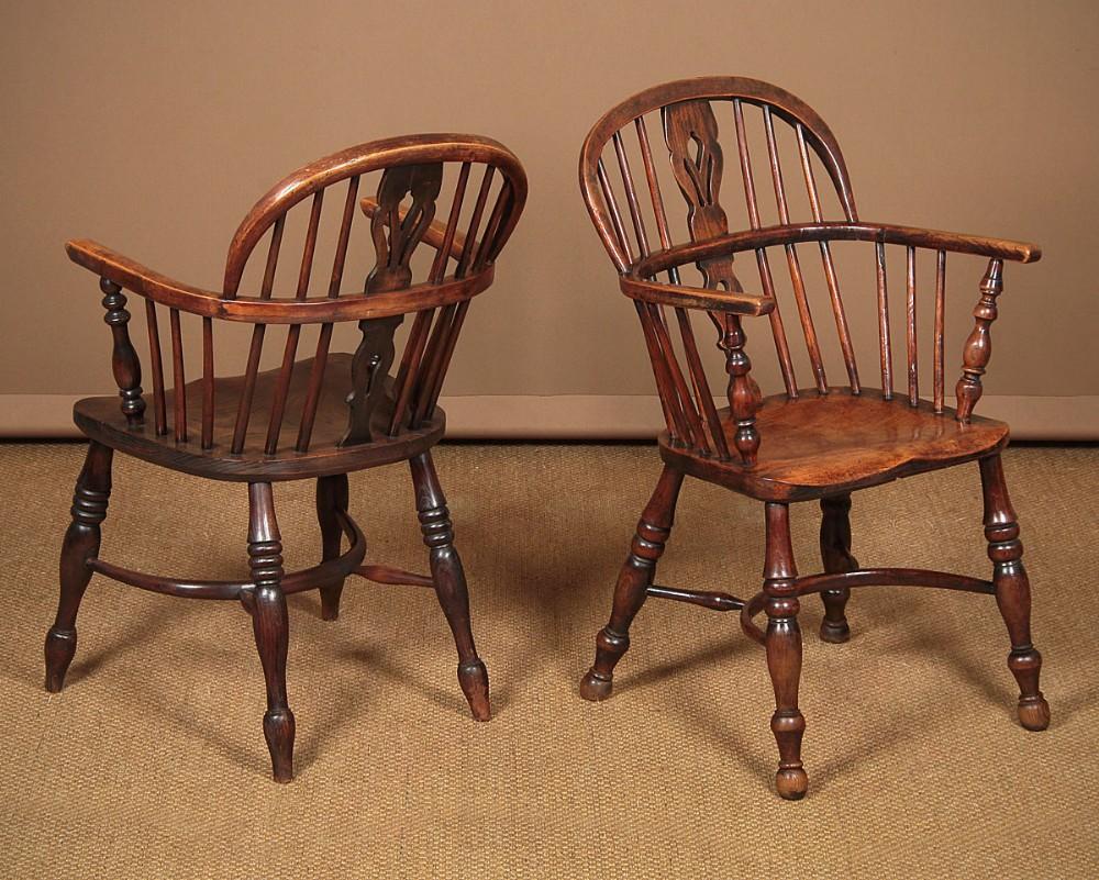 pair mid 19thc ash elm windsor armchairs c1860