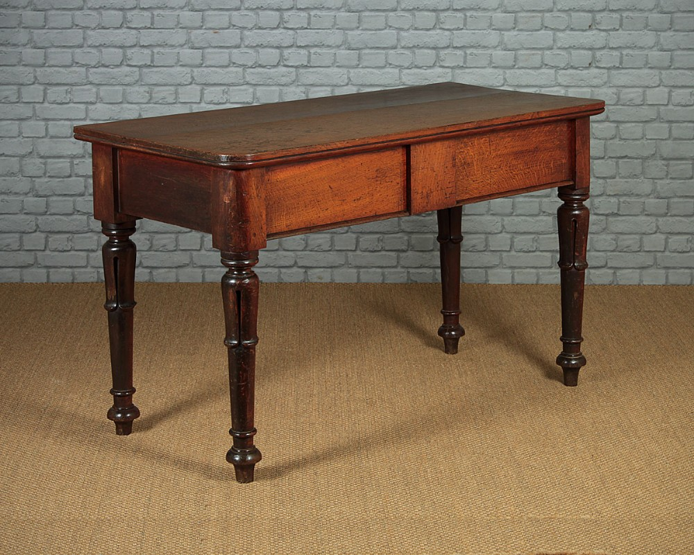 large oak two drawer side table c1860