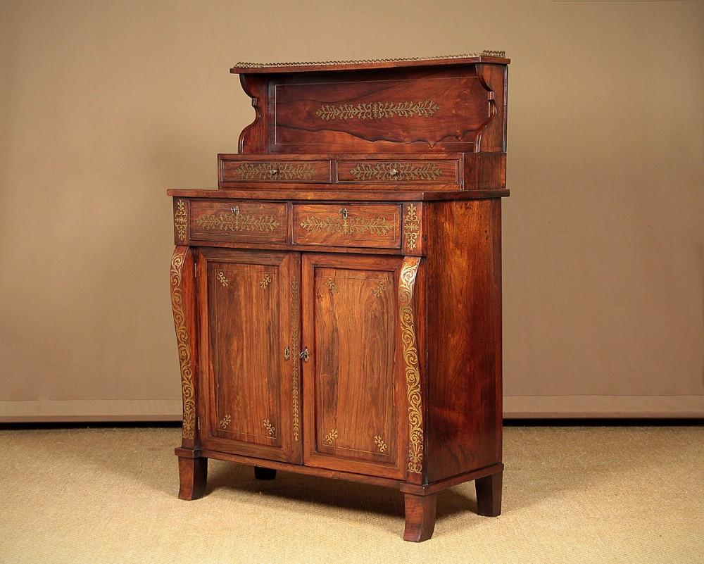 regency brass inlaid rosewood chiffonier side cabinet c1820