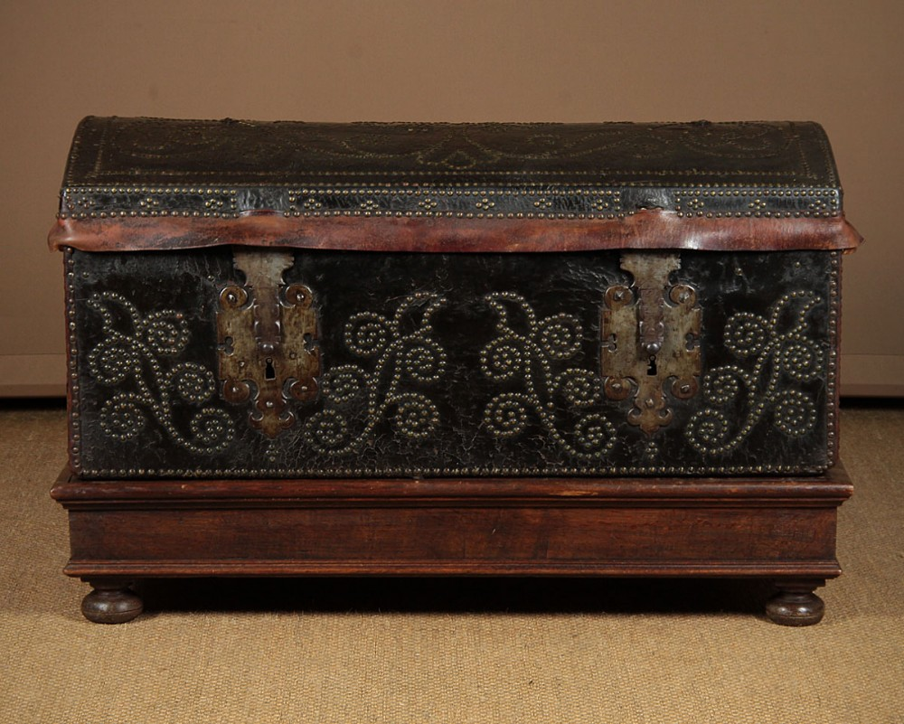 19thc leather bound trunk on stand c1820