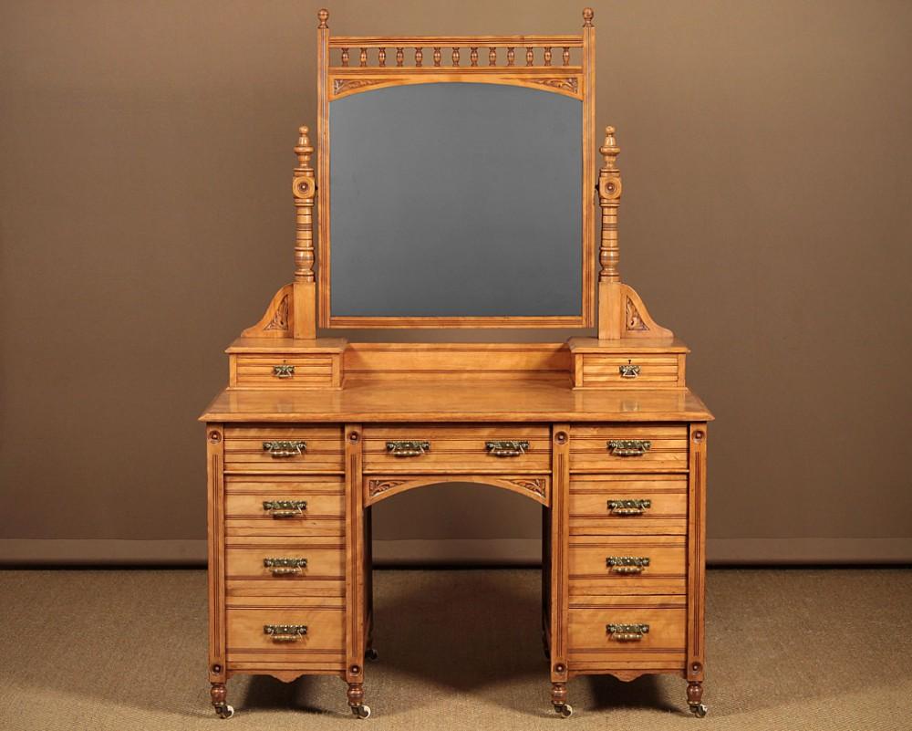 aesthetic movement satinwood kneehole dressing table by urquhart adamson c1880
