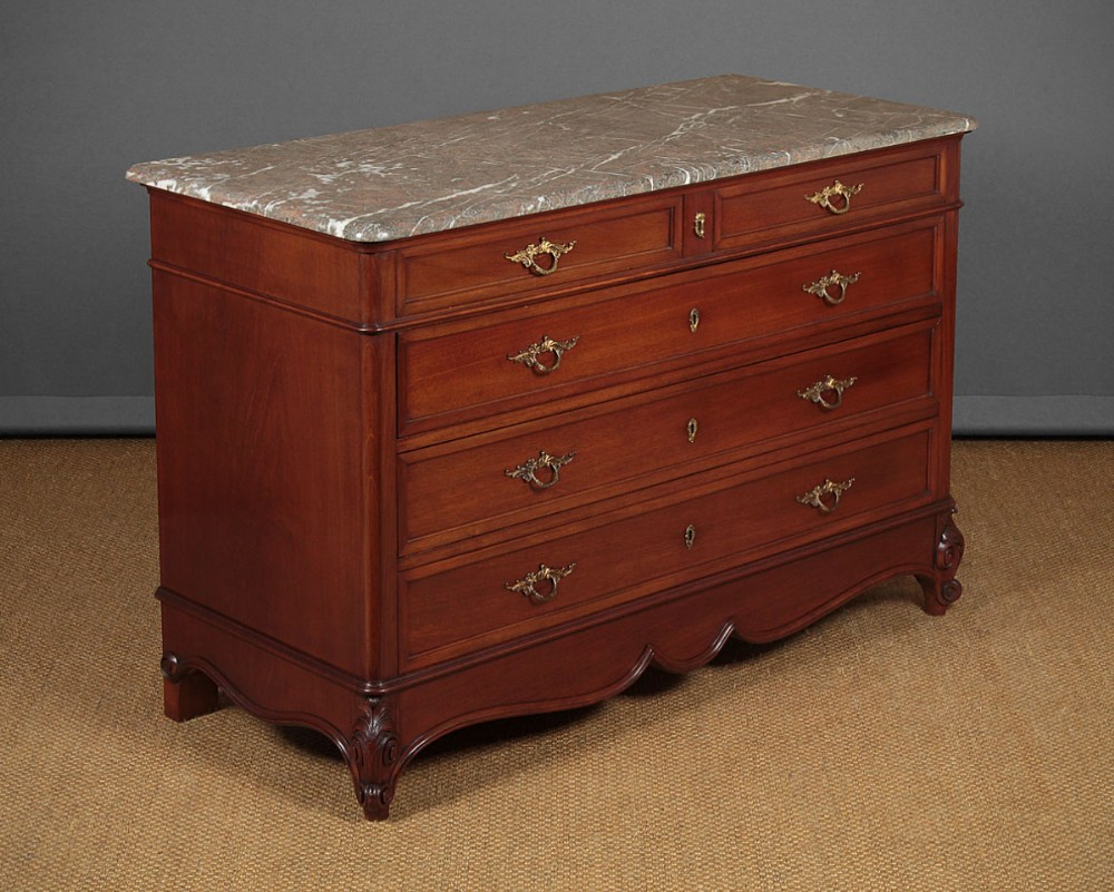 french mahogany marble top chest of drawers c1930