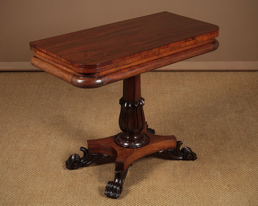 regency rosewood fold over supper table c1830