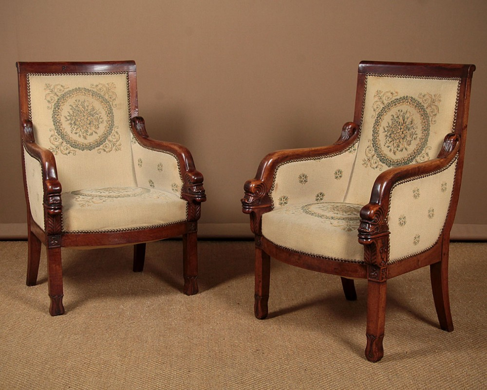 pair of french empire armchairs c1820