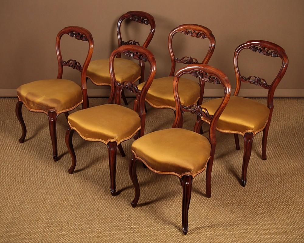 six walnut dining chairs c1850