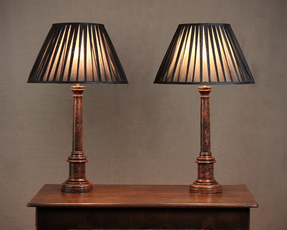 Pair Painted Column Table Lamps C1920