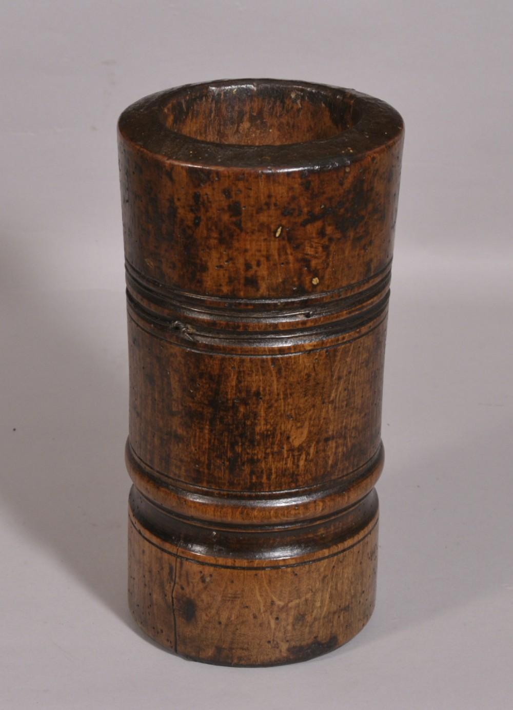 antique treen 18th century beech mortar