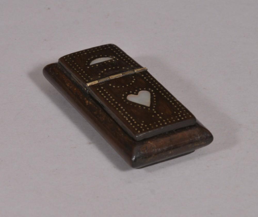 antique treen 19th century rosewood snuff box