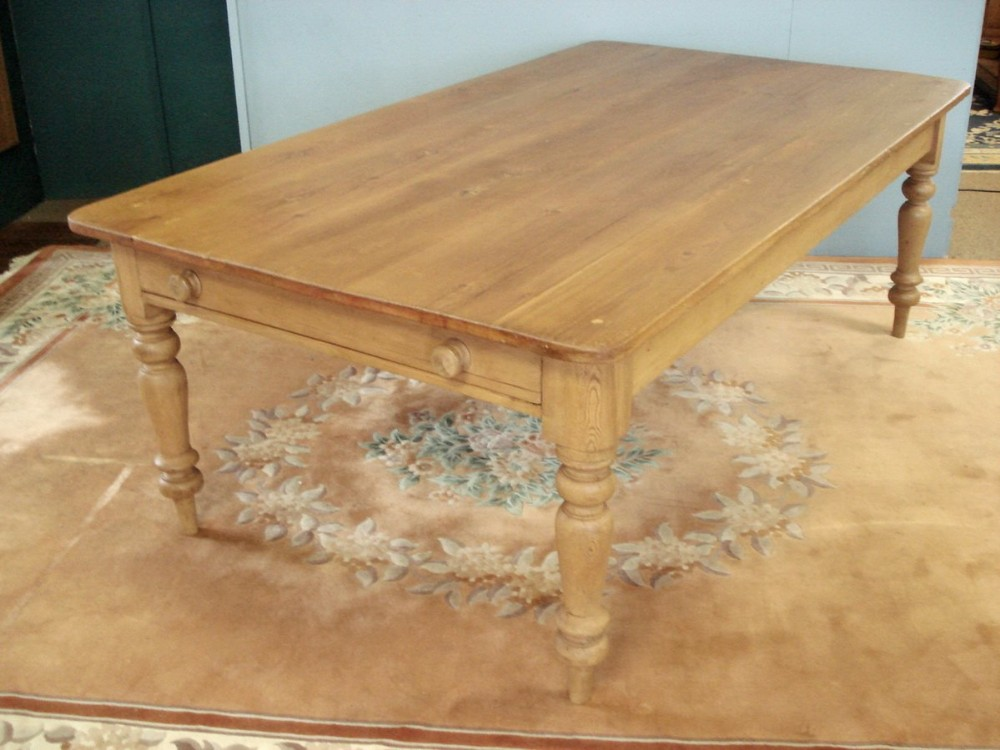 highly unusual 19th century large pine kitchen table