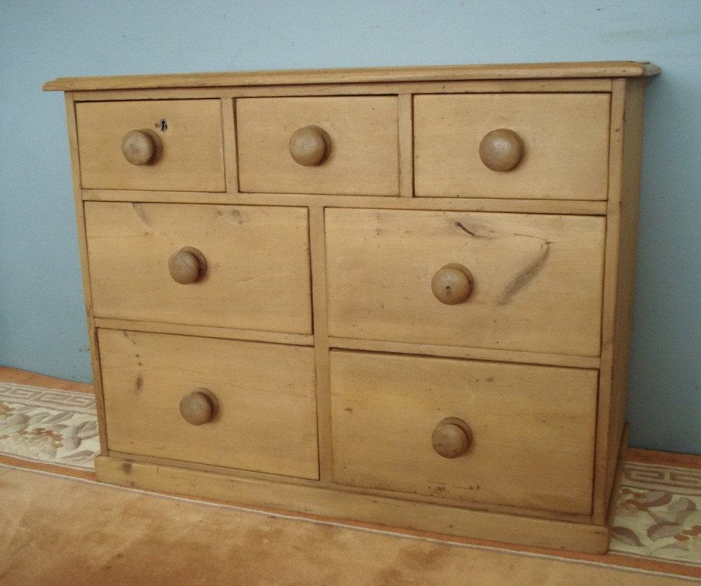 seven drawer pine 19th century chest of three over four