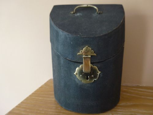 extremely rare geo iii shagreen box with silver cutlery