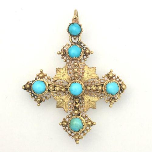 georgian turquoise 15ct gold filigree cross pendantbrooch