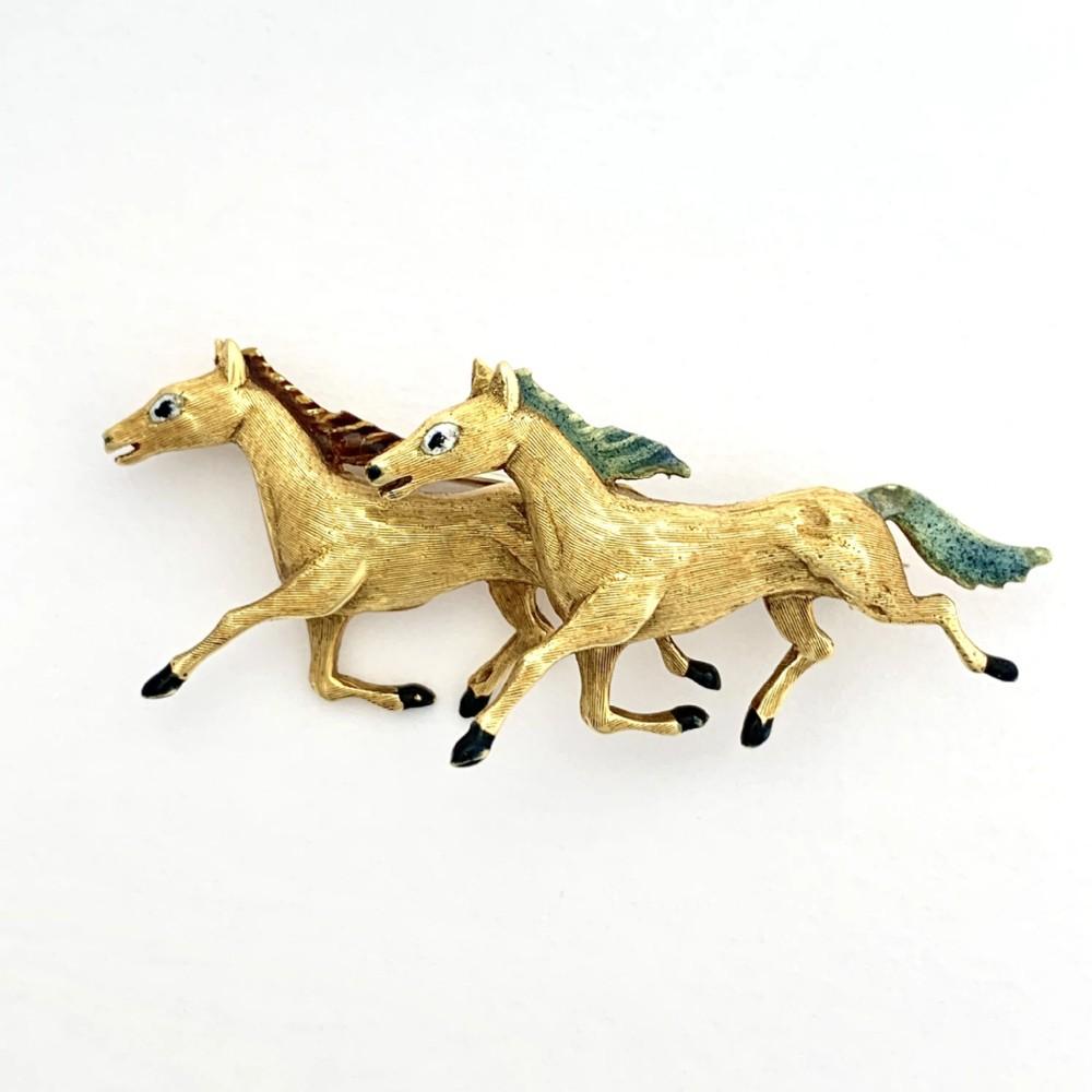 vintage italian 18ct gold enamelled horse brooch