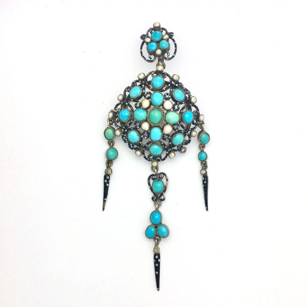 antique turquoise seed pearl and enamel silver locket pendantbrooch