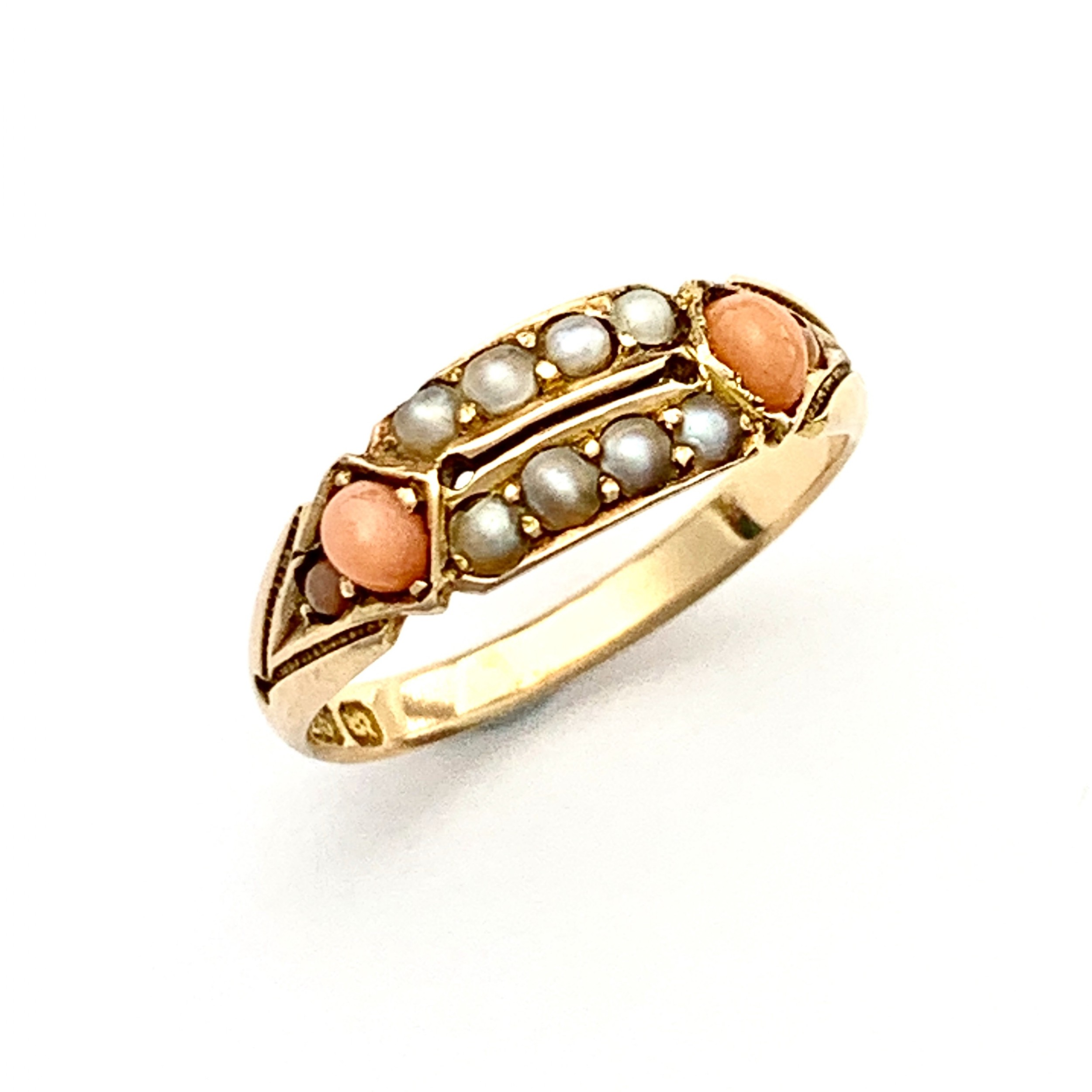 victorian 15ct rose gold coral seed pearl ring
