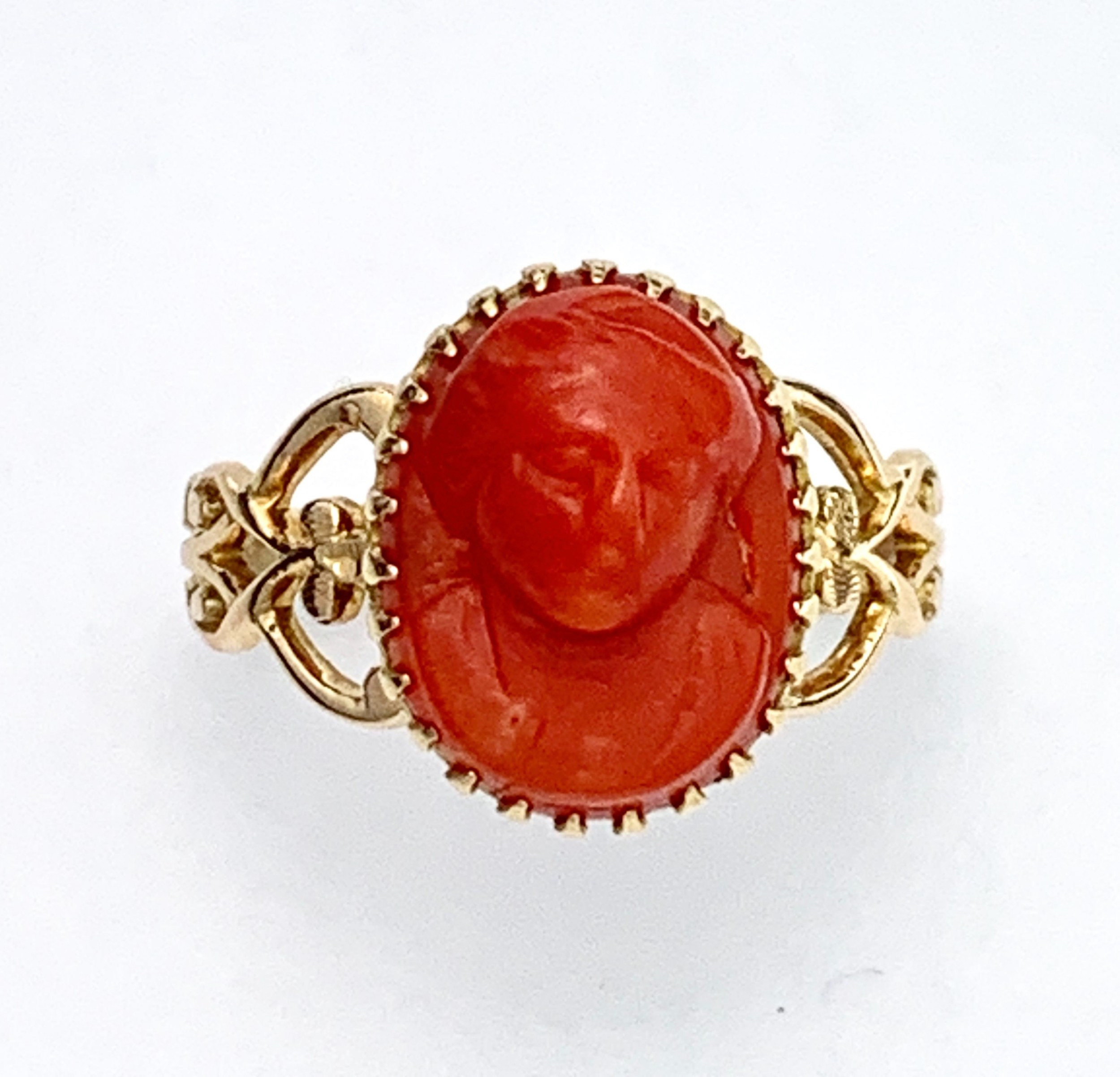 antique rose gold carved coral cameo ring