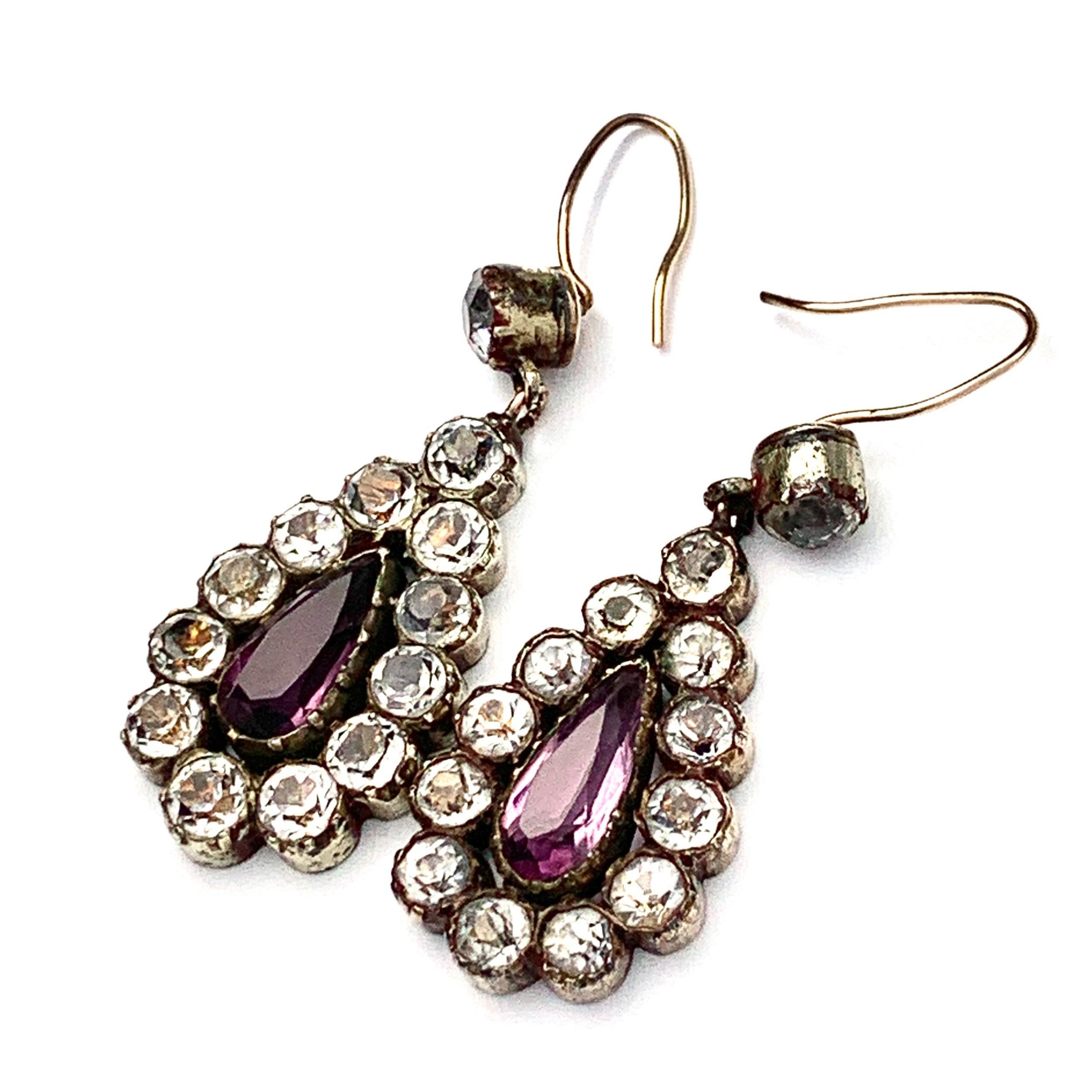 georgian black dot paste teardrop earrings