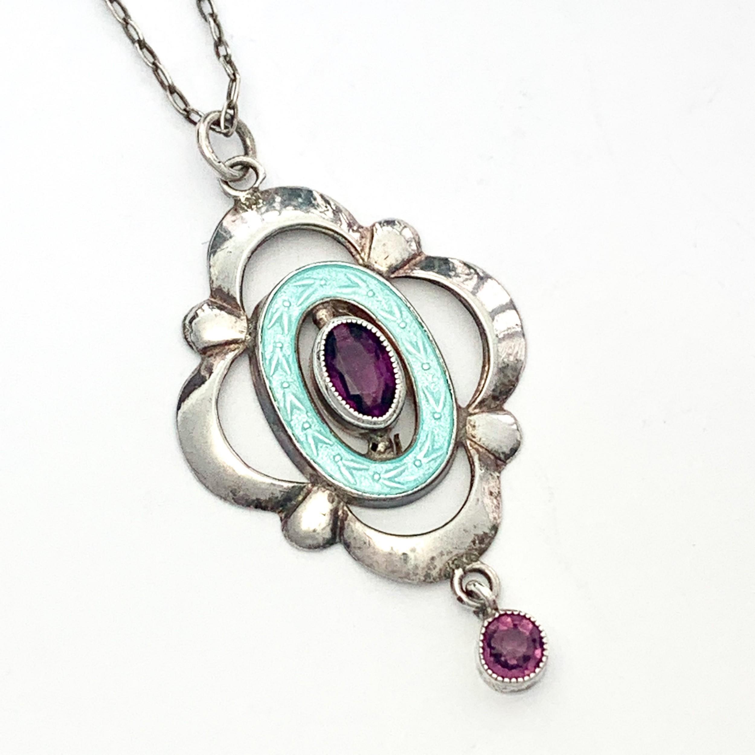 edwardian art nouveau silver guilloche enamel and amethyst necklace