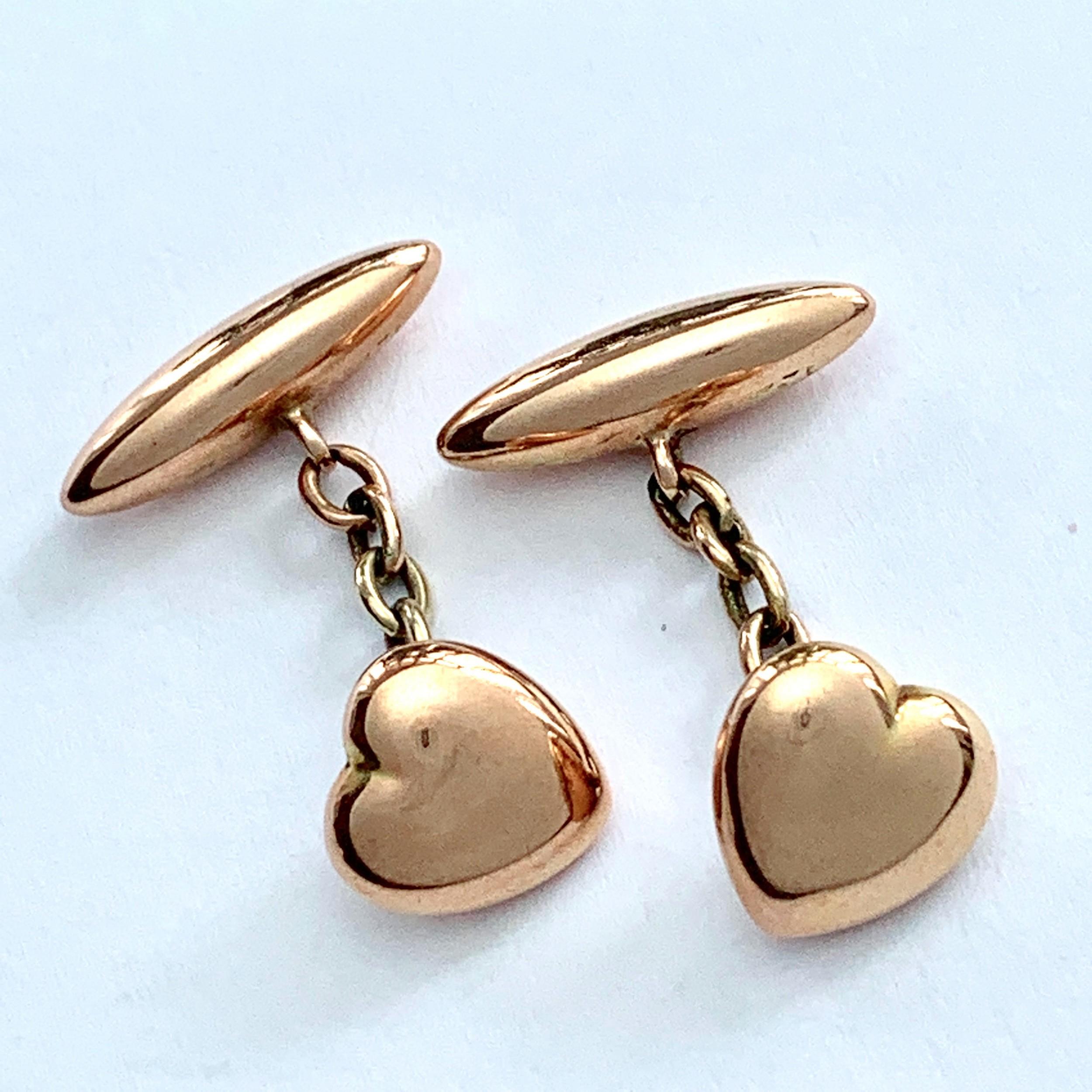 antique 9ct rose gold heart torpedo cufflinks