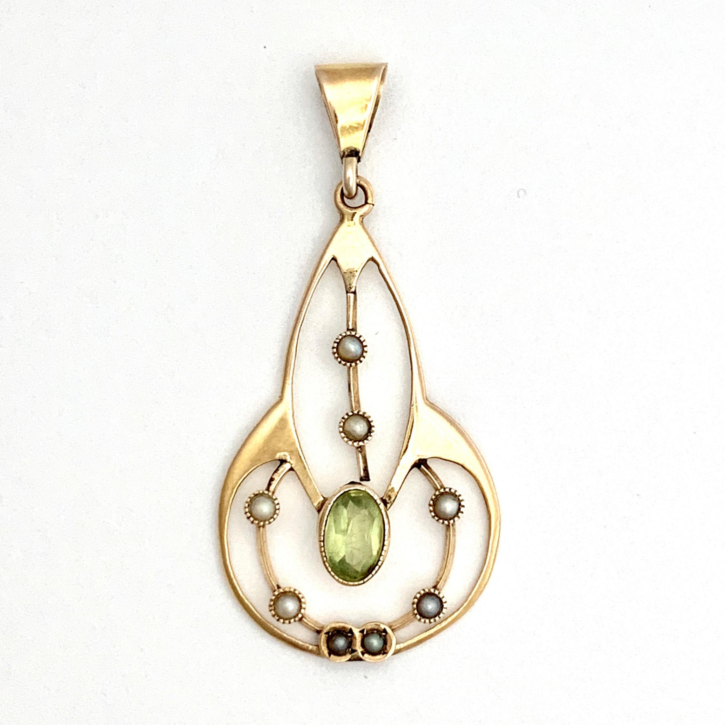 edwardian 9ct gold peridot and seed pearl pendant