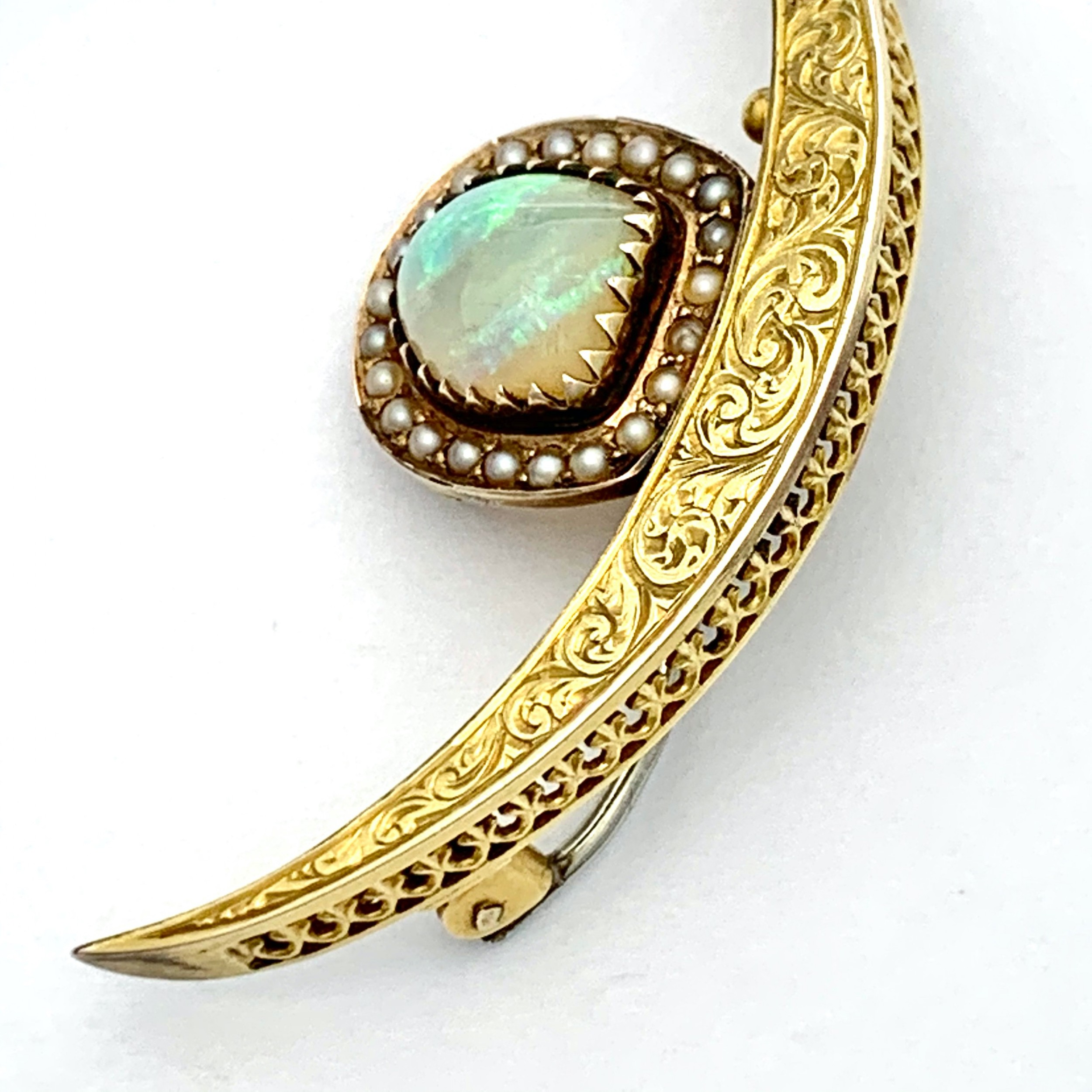 antique 15ct gold opal and seed pearl crescent brooch