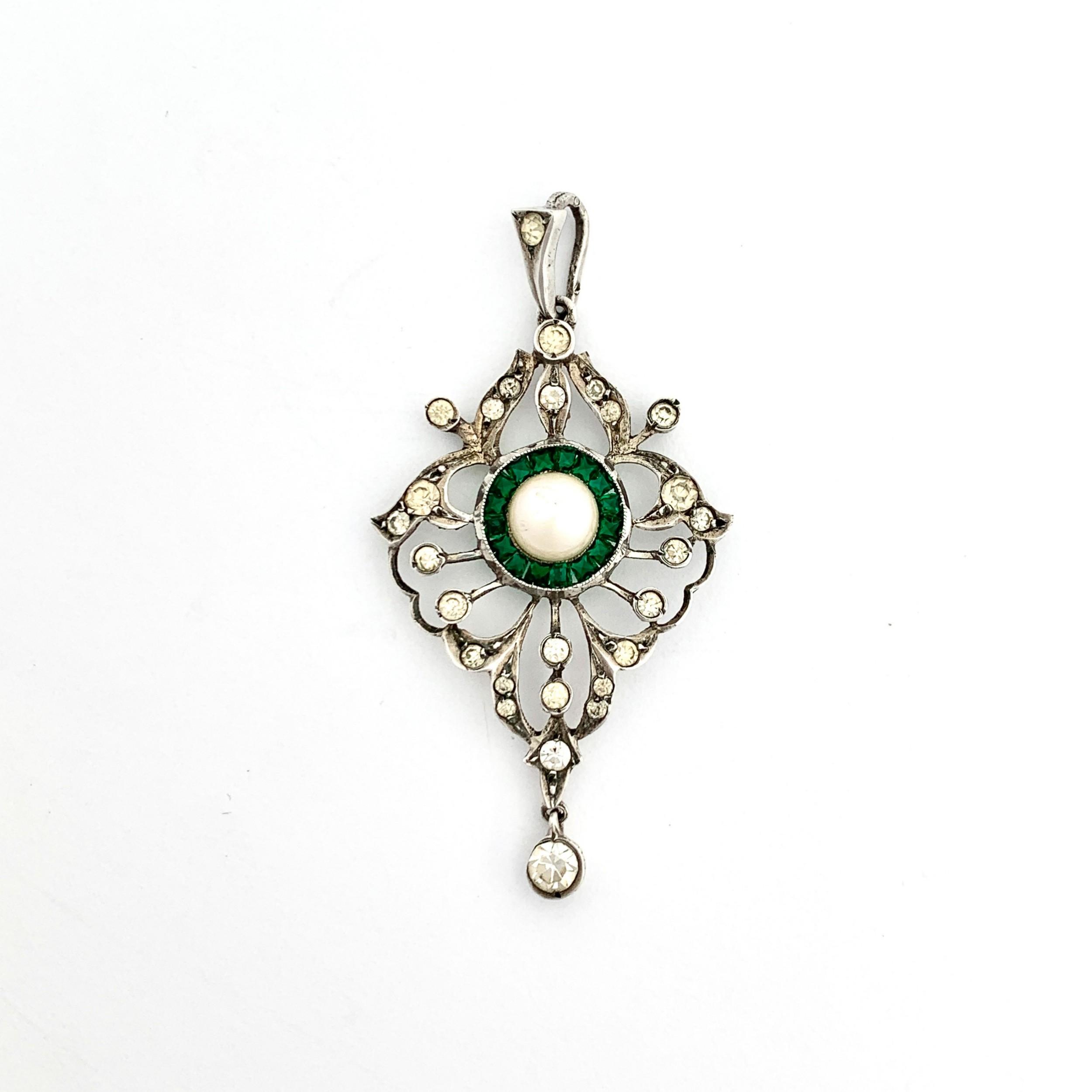 victorian cultured pearl and emerald paste silver pendant