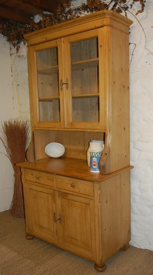 Antique french louis philippe pine kitchen dresser for Antique pine kitchen cabinets